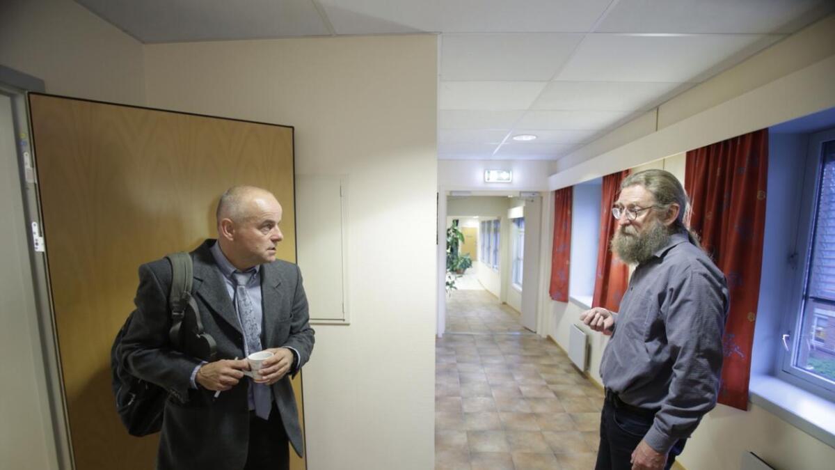 Aktor Jon Boergen og forsvarer Bjørn Nærum under fengslingsmøtet
