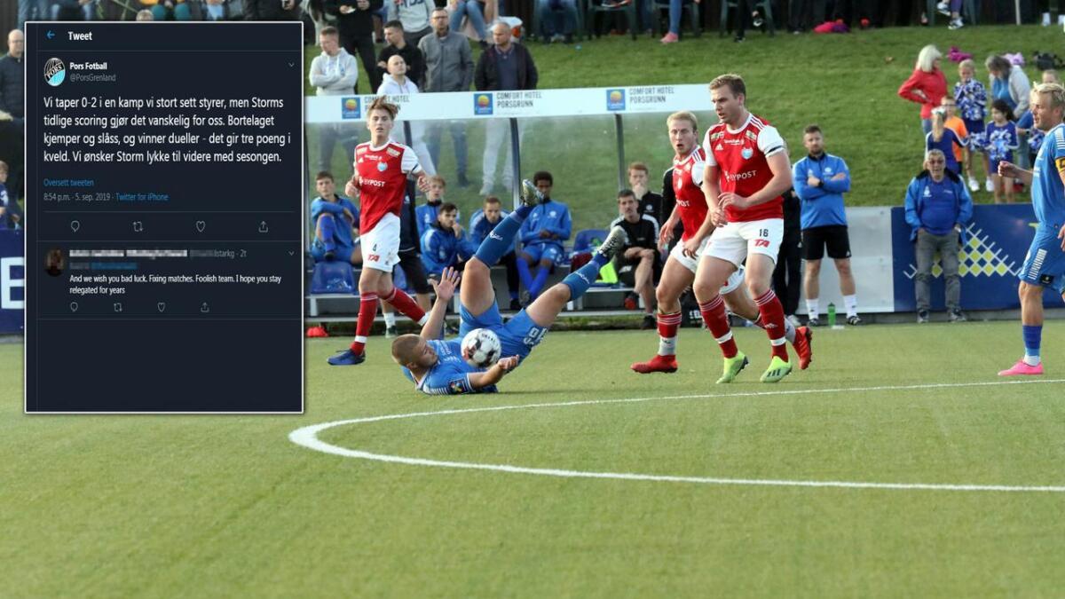 Jonas Sandnes (liggende) og Pors tapte overraskende 0-2 for Storm. Det fikk gamblere til å reagere i sosiale medier.