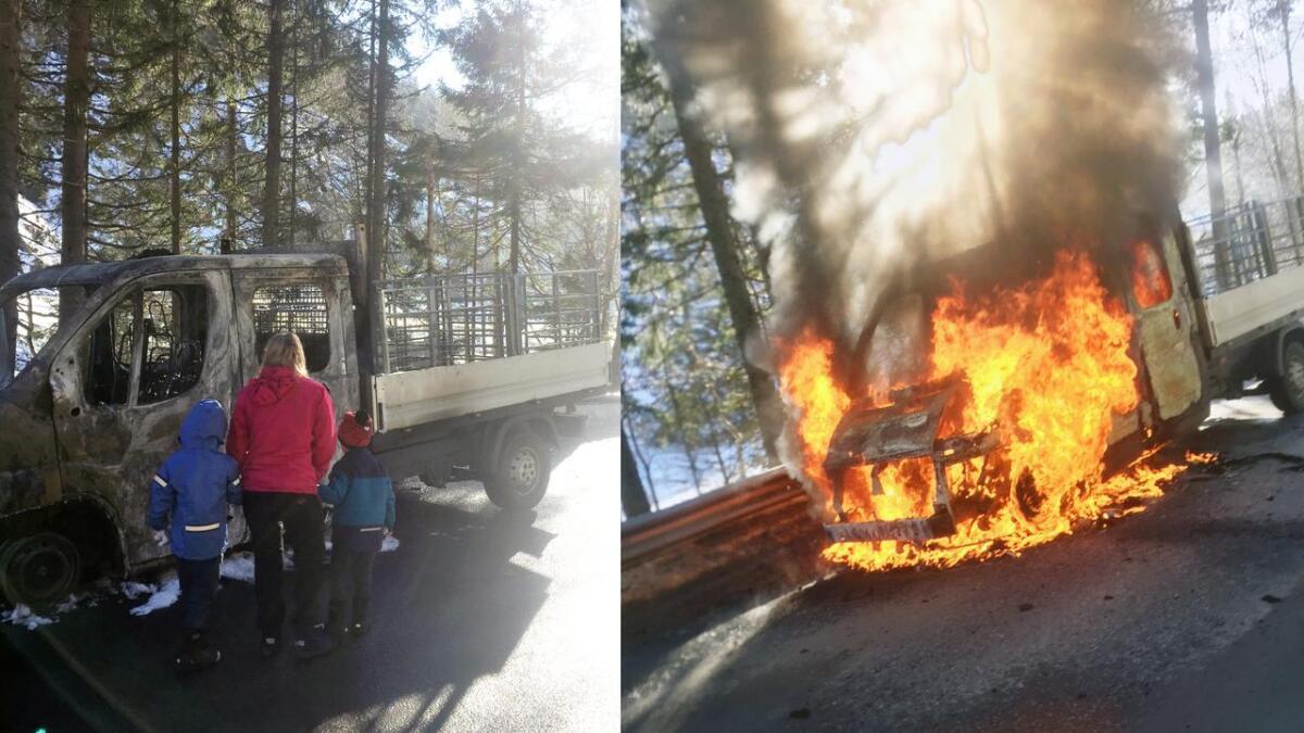 Bilen ble helt oppslukt i flammer, men heldigvis hadde Rikke Støkke Hagen og hennes barn kommet seg ut i sikkerhet før det skjedde.