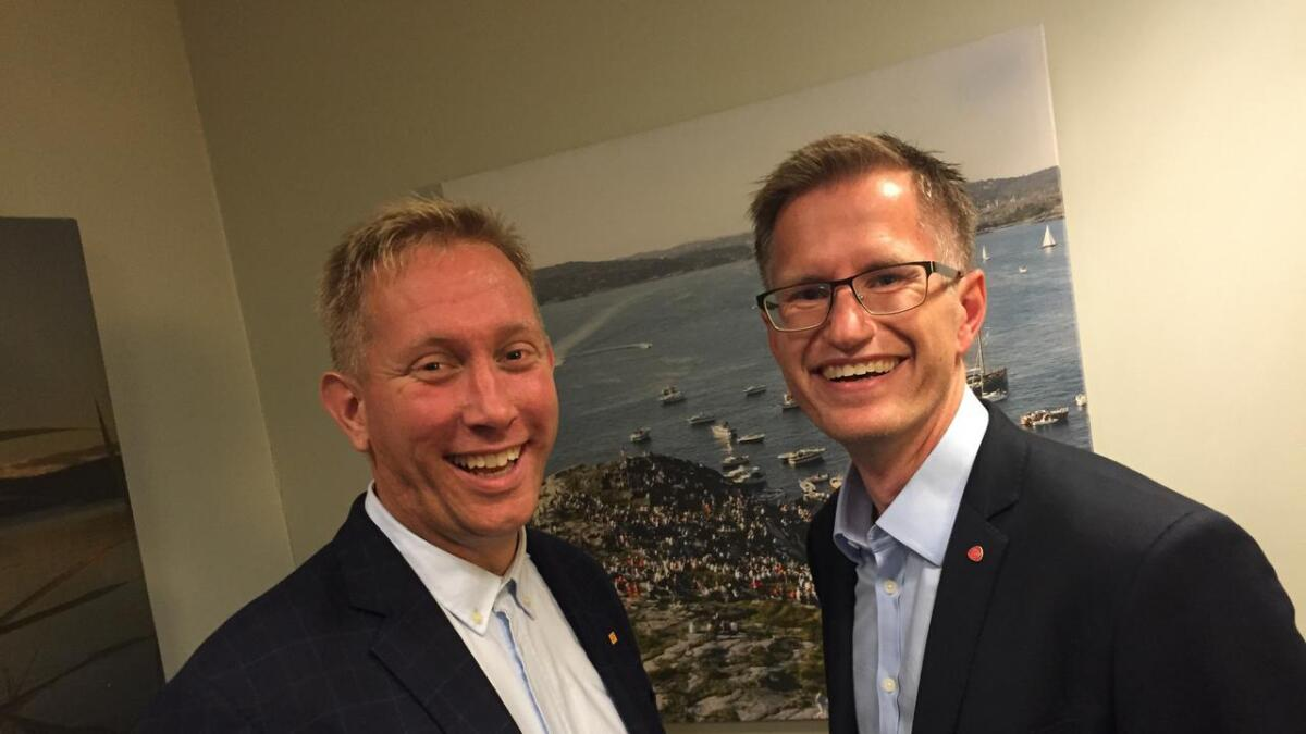 Dette er Arendals kommende ordfører og varaordfører, Robert C. Nordli og Terje Eikin.