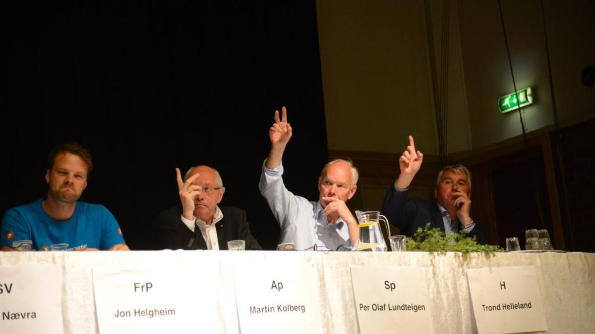 Torsdag kjem toppolitikarar i Buskerud til Rødberg for å diskutere distriktspolitikk. Jon Helgheim (Frp) t.v. blir erstatta med Morten Wold. Stortingsveteranane Martin Kolberg (Ap), Per Olaf Lundteigen (Sp) og Trond Helleland (H) er på plass.