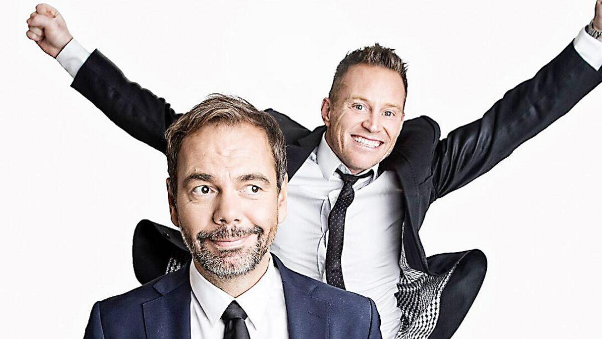 (F.v.) Gisle Børge Styve og Heine Totland er klare for å servera musikalsk humor i Turbinen søndag.