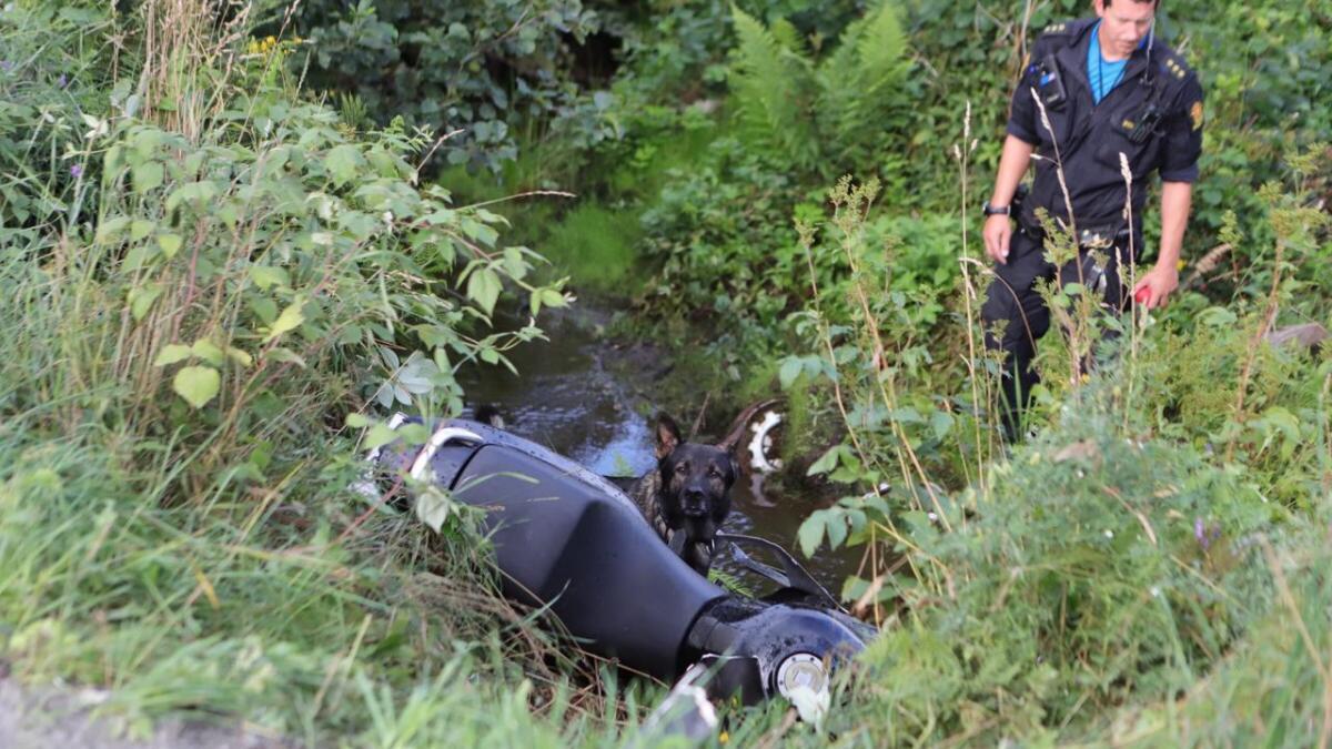 Motorsykkelen har havnet utfor veien og nær nedi en bekk. Politiet er på stedet med hund i håp om å lokalisere føreren.
