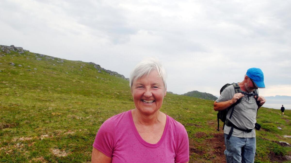 Vi traff på Valgerd Svarstad Haugland på vei ned fra Vetten. Hun var på vei opp.