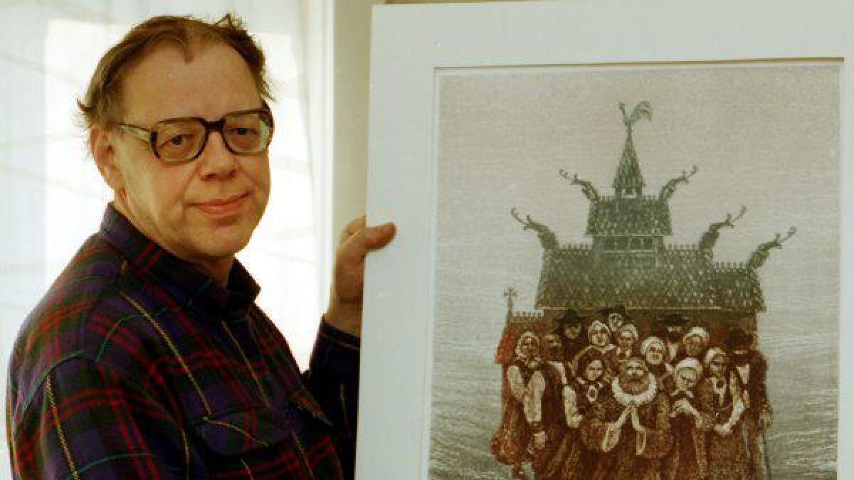 Dette bildet tok Varden av Olav Bjørgum i 1993 da han viste fram flere av sine kjente arbeider.