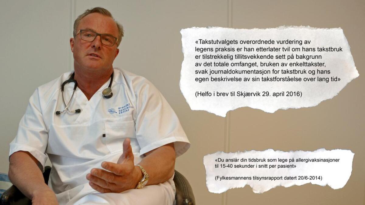Ingen legespesialist har flere pasientkonsultasjoner enn Håvard Skjærvik. Han mottar også mest i refusjoner fra staten.