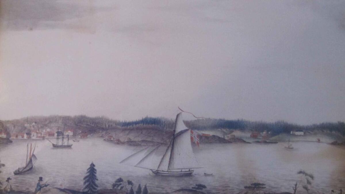 Mogens Moe eller Anne Johanne Grøgaard har tegnet dette bildet på 1820-tallet. På jakt i forgrunnen er fra venstre Fredrik og Christian Grøgaard. Bildet tilhører Lillesand By- og Sjøfartsmuseum.