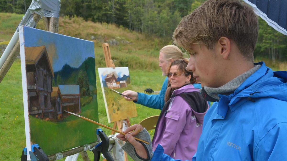 Kristian Garstad Eriksen frå Stathelle var den yngste deltakaren på målarkurset i Morgedal.