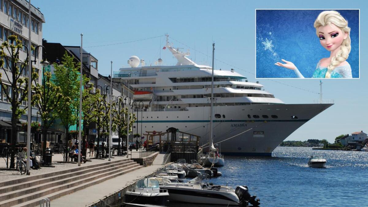 4. juni 2013 lå cruiseskipet M/S Amadea med sine 500 passasjerer til kai i Arendal. Innfelt er Elsa. Men hvor er Arendelle?