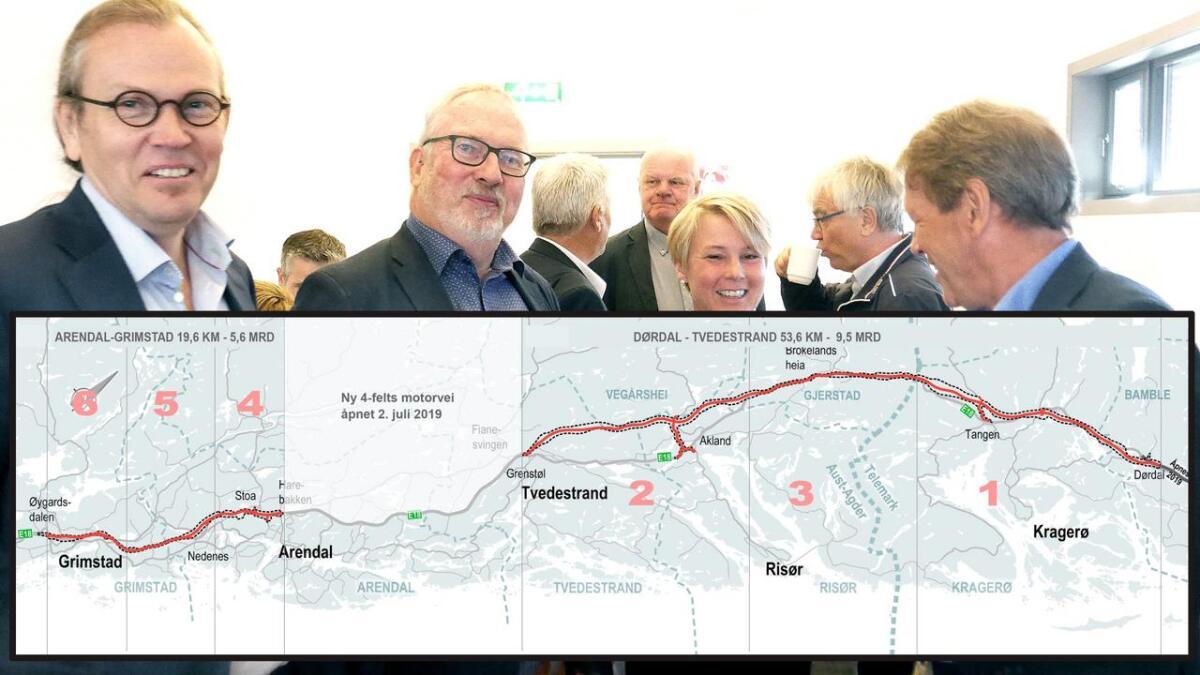 Her er det justerte kartet som viser avgrensningen (stiplet strek) til den interkommunale kommunedelplanen for ny 4-felts E18-motorvei mellom Grimstad og Dørdal. Rød strek er anbefalt linje – men helt nøyaktig plassering skal fastlegges i en senere reguleringsplanprosess.