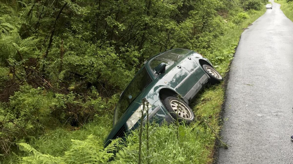 Den eller dei som var i bilen som hamna i grøfta, skal ha gått frå staden. Politiet ønskjer tips.
