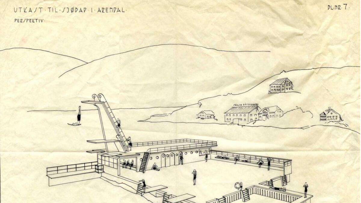 Utkast til sjøbad i Arendal. Tegnet av Ketil Ugland i 1936.