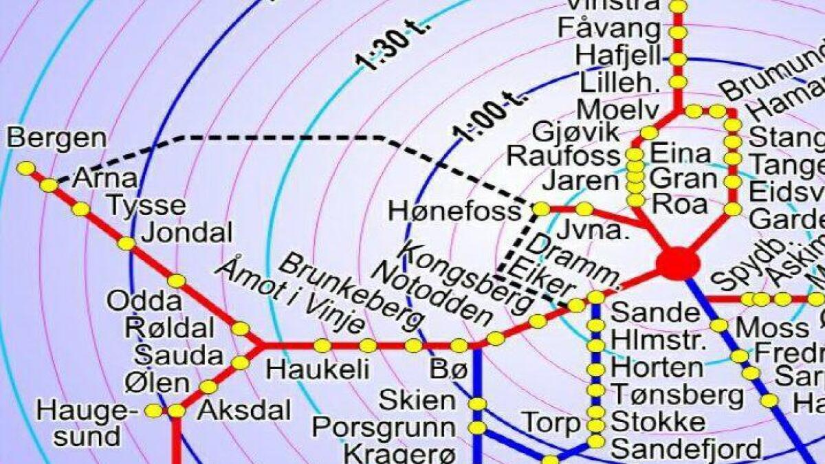 Dette utsnittet av skissen til høyfartsbane, viser stasjoner i Telemark. I oktober behandler fylkespolitikerne saken.