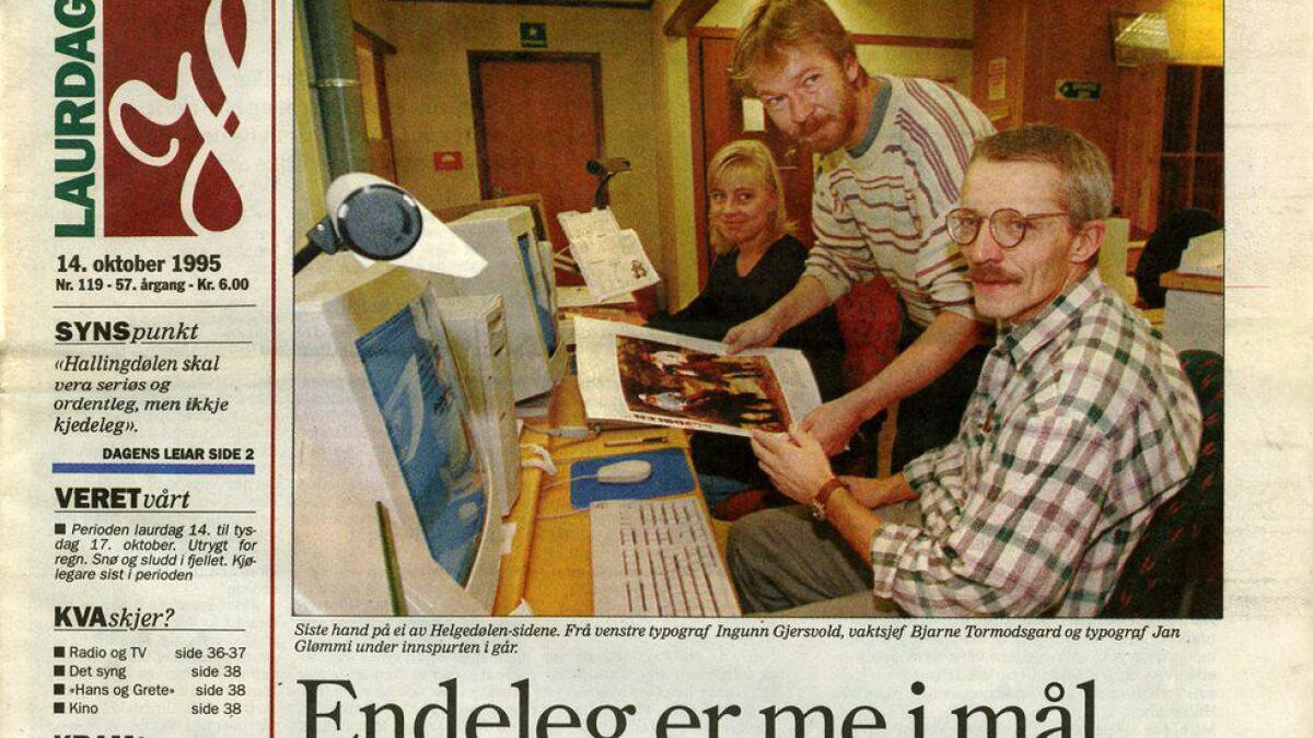Den første framsida av Hallingdølen i tabloidformat, laurdag 14. oktober 1995.