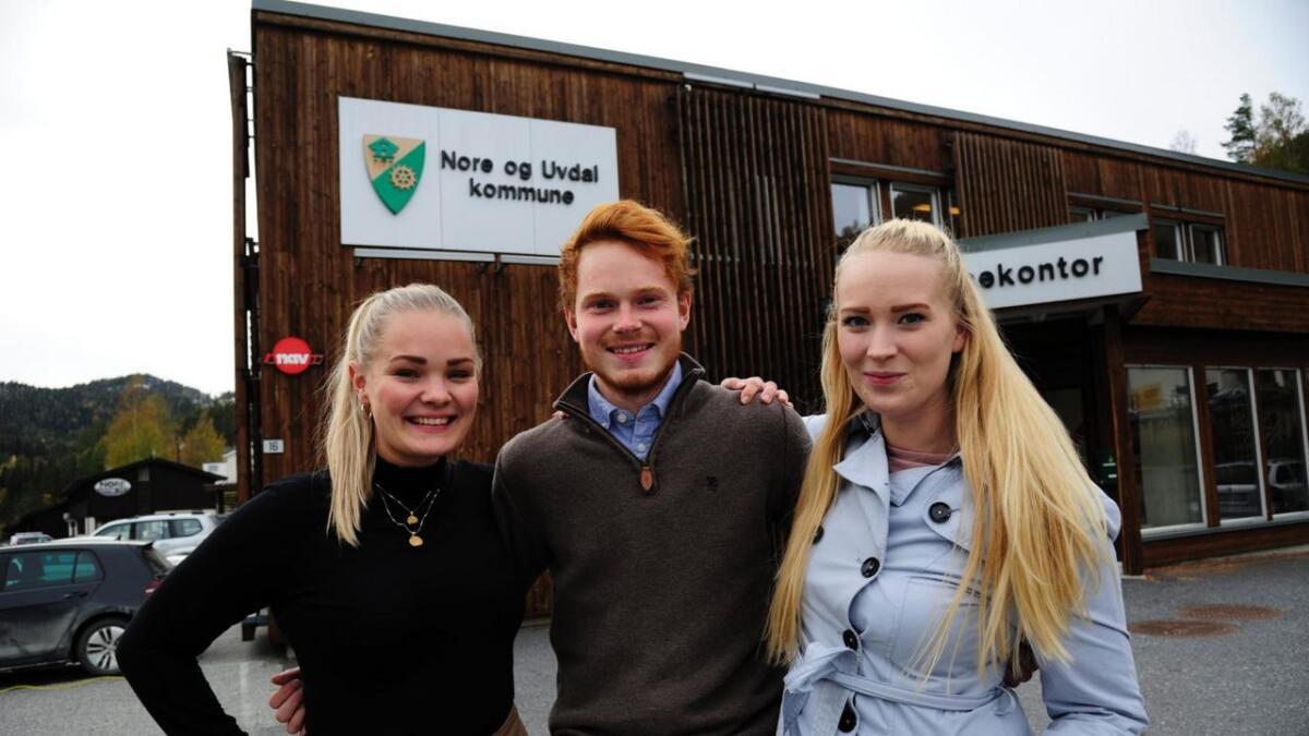 Ap stiller med mange unge debutantar med høge ambisjonar i Nore og Uvdal. F.v. Ida Bjerke (24), Håkon Rød-Knudsen (23) og Ane Haug Skriudalen (25).