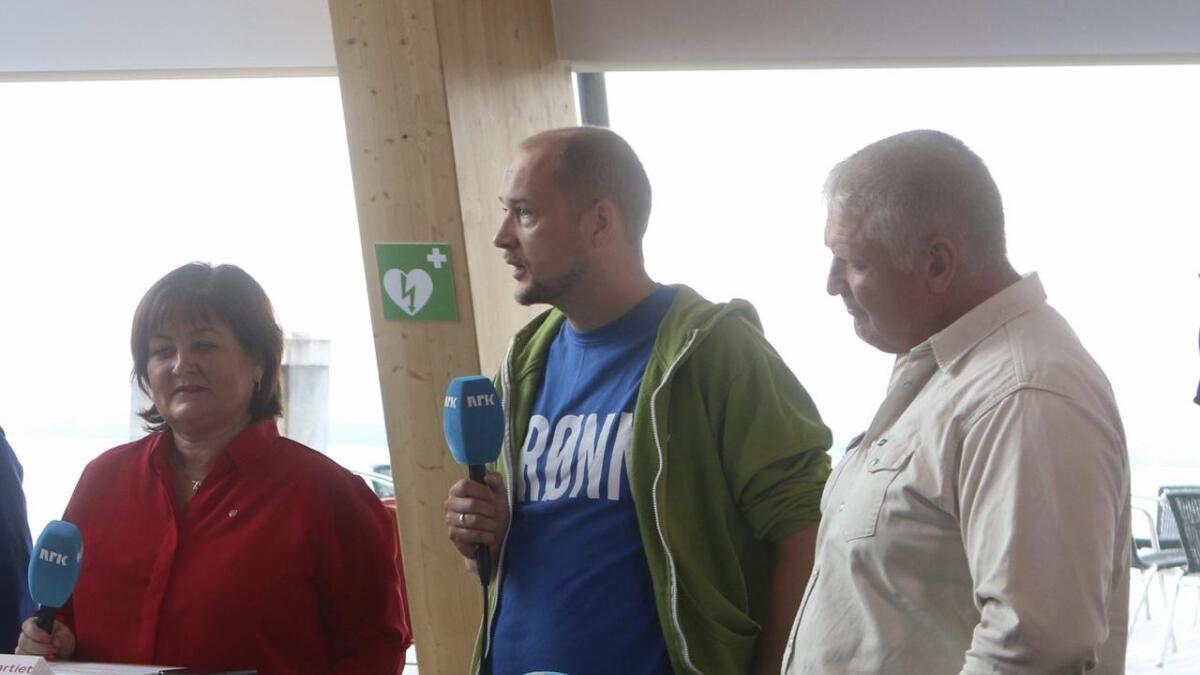 Arbeidarpartiets Trine Lindborg (f.v.), Nils-Anders Nøttseter (MDG) og Harald Lekven (Sp) under NRK-debatten tidlegare i haust.