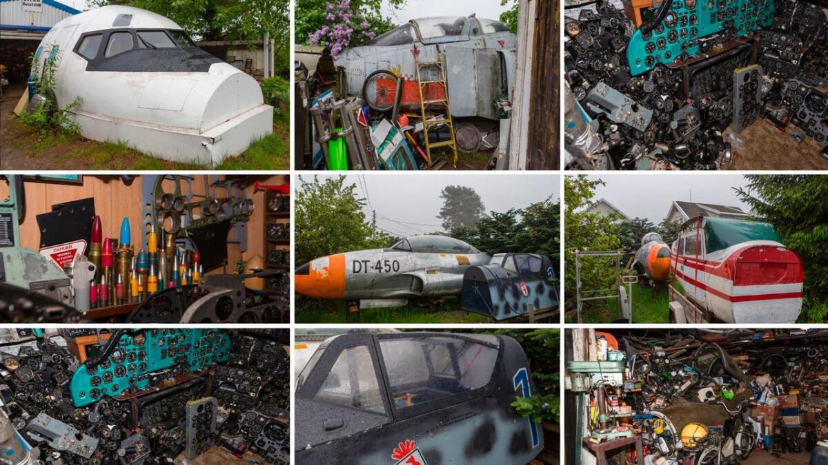 Jens Rino Haugen (60) har hagen - og huset - fullt av flydeler.