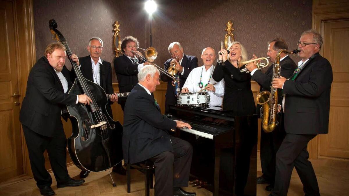 Sandra Point Trad Jazz Band fra Lillesand spiller på Apotekergaarden neste helg.