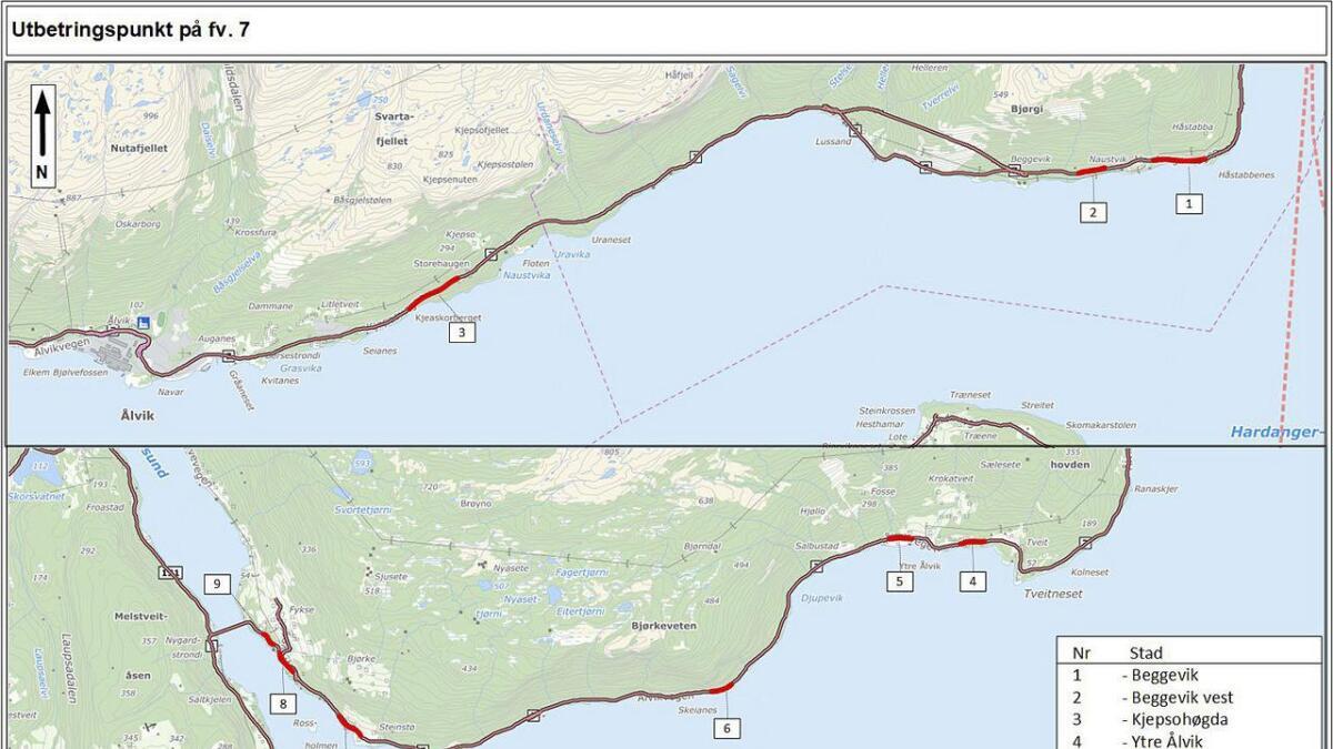 I alt ti stader er utpeika for breiddeutviding, på Fv 7 ved Hardangerfjorden.