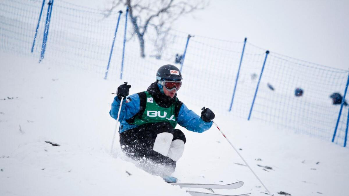Tevje Lie Andersen køyrde inn til ein 16. plass i verdscuprennet i kulekøyring. Bilete frå verdscup i Myrkdalen.