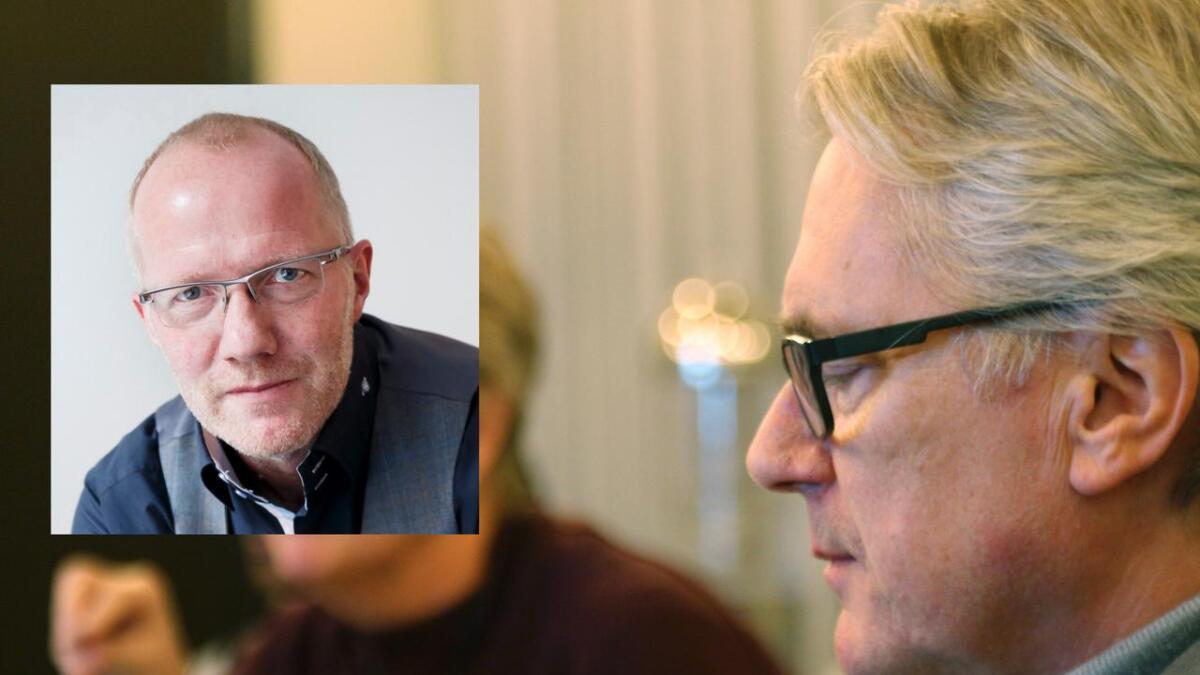 Ordførar Eirik Haga (t.h.) var krass i kritikken av at VP har sett på trykk kritiske lesarinnlegg. Generalsekretær i Norsk Redaktørforening, Arne Jensen (innfelt), er ueinig.