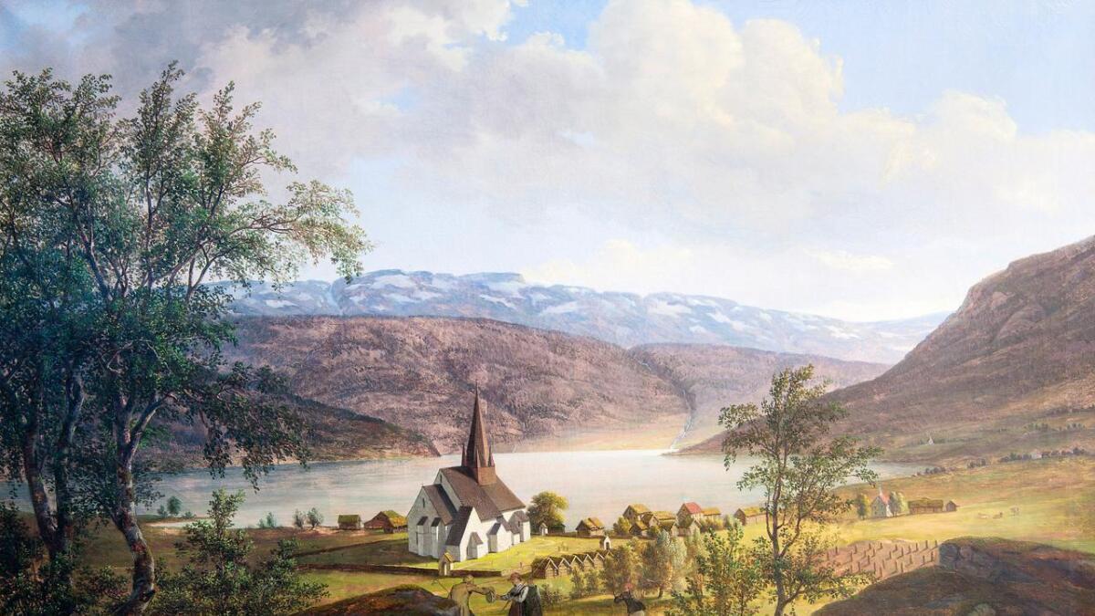 Vossavangen, slik den såg ut i 1826 nokre år før Voss fekk eigen Sparebank. Målarstykke etter Thomas Fearnley, som er i Voss Sparebank si eiga.