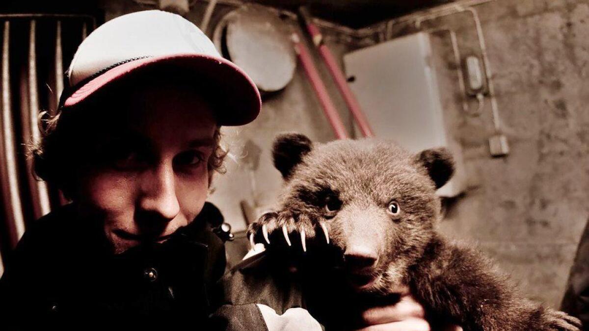 Thomas Mørch med bjørnunge i Bjørneparken i Flå. (Arkivfoto)