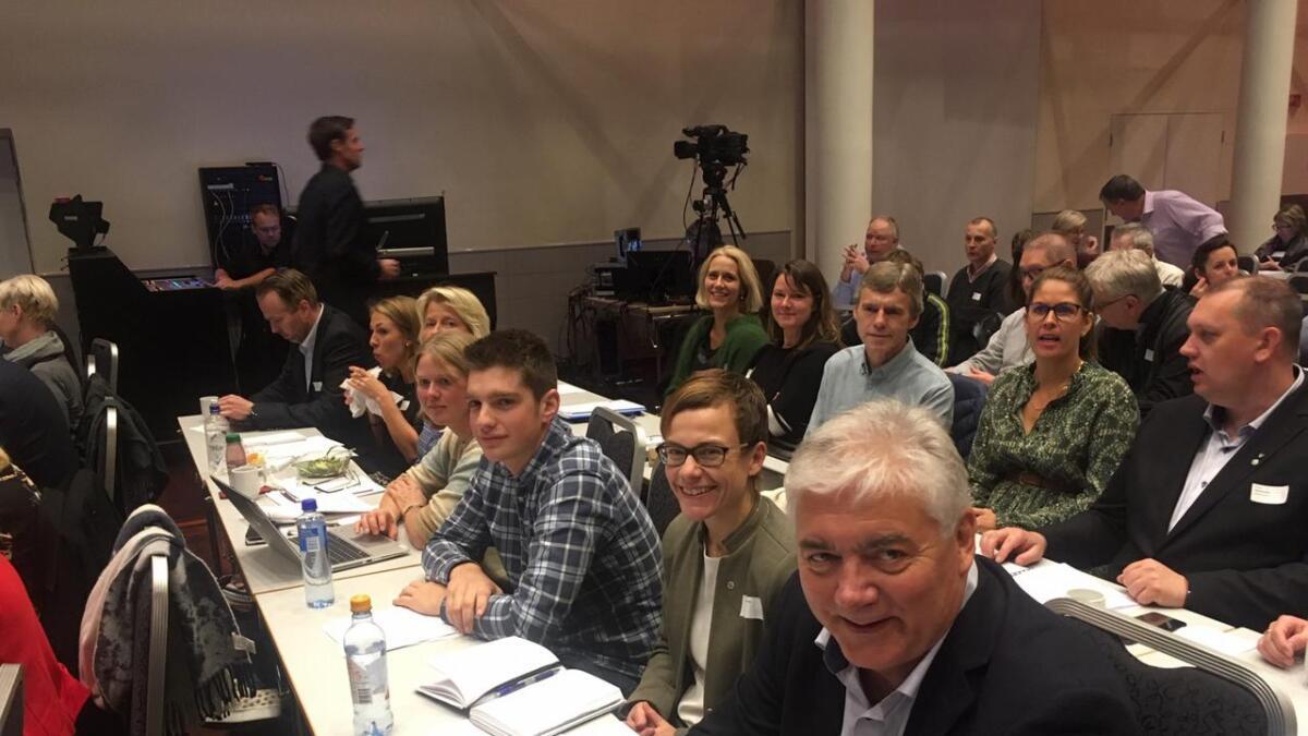 Dei smilte på biletet, men representantane frå Hallingdal er ikkje fornøgde med forslaga frå kraftskatteutvalet. Ordførar i Hol, Petter Rukke (nærmast), Sigrid Simensen Ilsøy, Martin Grøslandsbråten, Solveig Endrestøl, Hanne Haatuft, Line Ramsvik og rådmann i Hol, Ole Johnny Stavn. Gol-ordførar Heidi Granli bak til høgre med varaordførar Herbrand Jegleim og rådmann i Gol, Hege Mørk, ytst.
