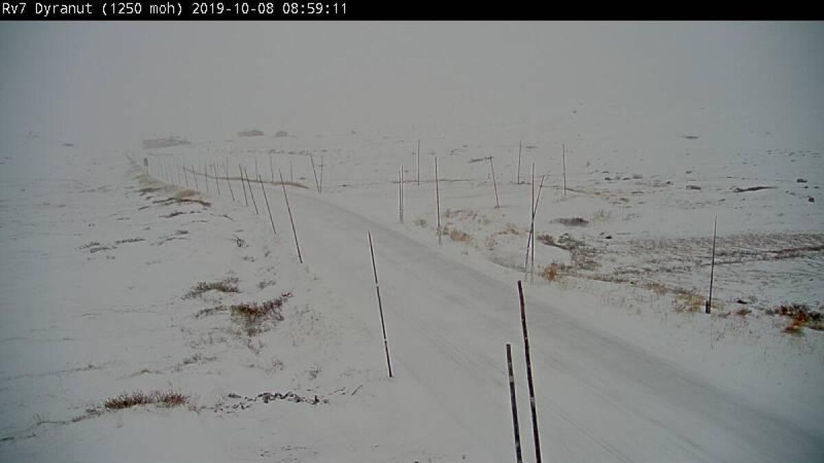 Slik såg det ut på Rv7 ved Dyranut på Hardangervidda klokka ni.