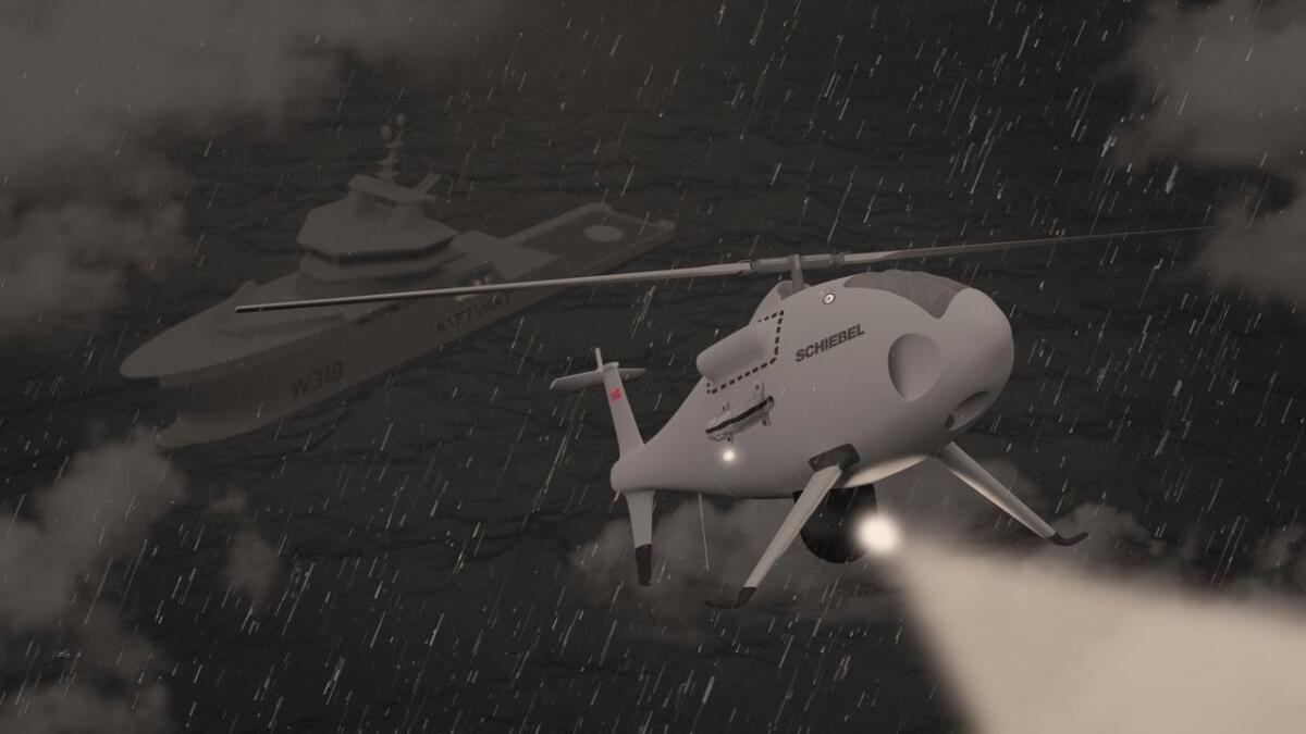 Illustrasjon av helikopterdrone som deltar i operasjon sammen med et skip fra KV.