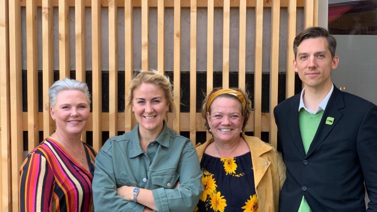 Senterpartiets Anne Beathe Tvinnereim (t.v.), fylkesrådsleiar Tonje Brenna (Ap), Camilla Eidsvold (SV) og Kristoffer Robin Haug (MDG) er blant dei nye folkevalde i Viken. No er lønna deira klar.