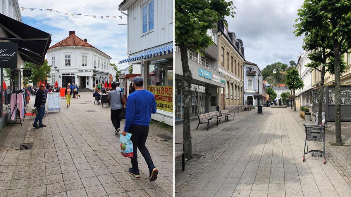 Bildene fra gågatene i Grimstad (t.v.) og Arendal er tatt med kort tids mellomrom søndag ettermiddag.