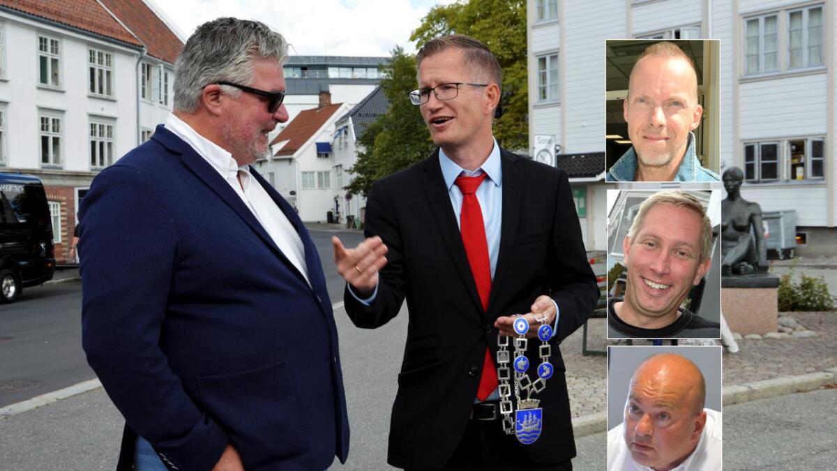Høyres Geir Fredrik Sissener (t.v.) går på nytt til valg mot Arbeiderpartiets Robert Cornels Nordli, som vil få konkurranse om ordførerkjedet. Også KrFs gruppeleder Terje Eikin,  Frps gruppeleder Anders Kylland og Venstres gruppeleder Pål Koren Pedersen vil ha gjenvalg.