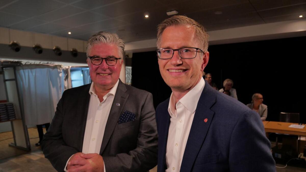 Geir Fredrik Sissener (H) og Robert Nordli (Ap)  - det kan ta dager før det er klart hvem av dem som er Arendals ordfører neste fire år.
