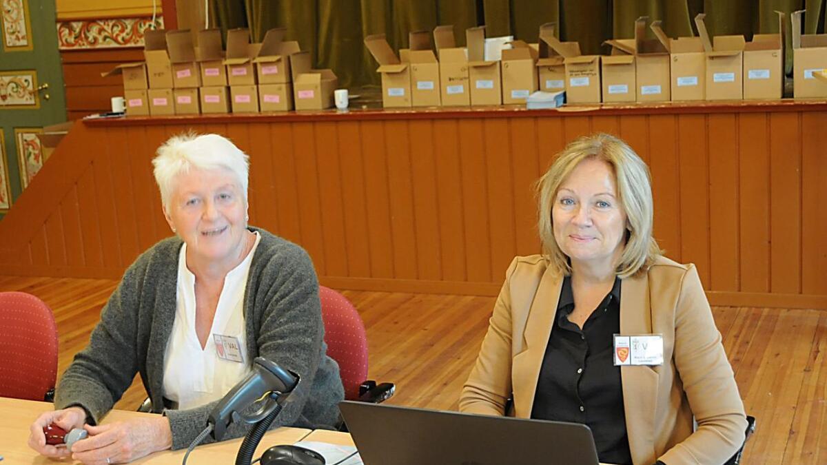 Aase Venås (t.v) trur at me vil sjå ei auke i valdeltakinga i år. Ho og Karin Susanne Lauvstad opplever at mange fleire unge enn tidlegare har vore og stemt.