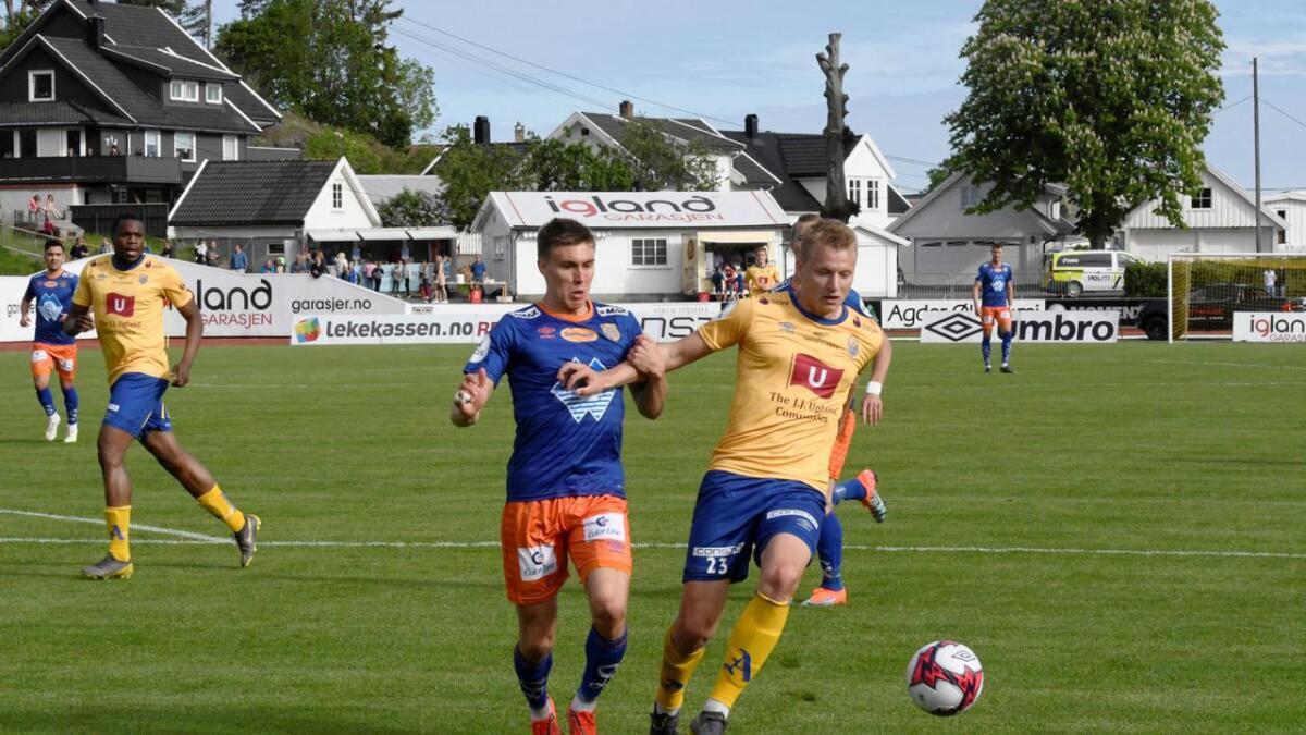 Ole Marius Håbestad nettet etter bare fem minutter mot Tromsdalen - hans første scoring i 1. divisjon for Jerv. Fire minutter på overtid sørget han for 3-1 mot TUIL. Her fra oppgjøret mot Aalesund.