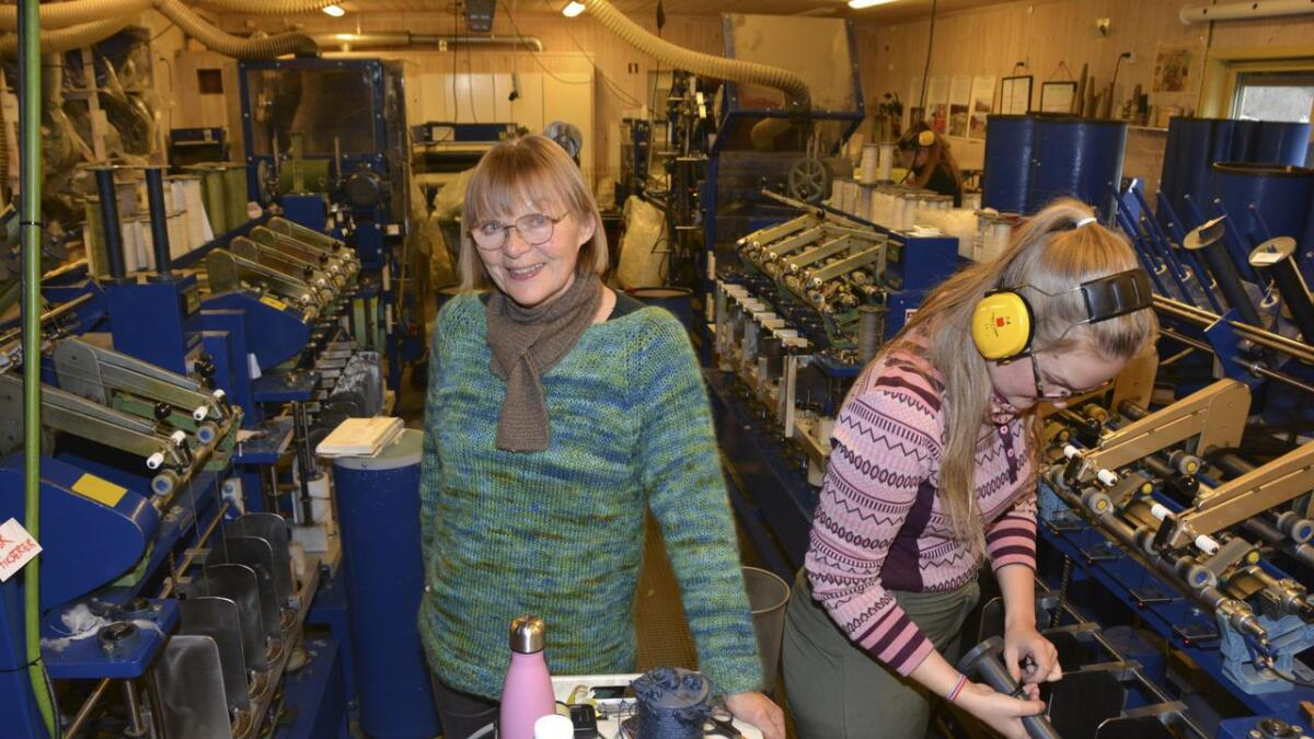 I spinneriet sitt har Bjørg Minnesjord Solheim tolv maskiner som gjer om ull til garn.8begge