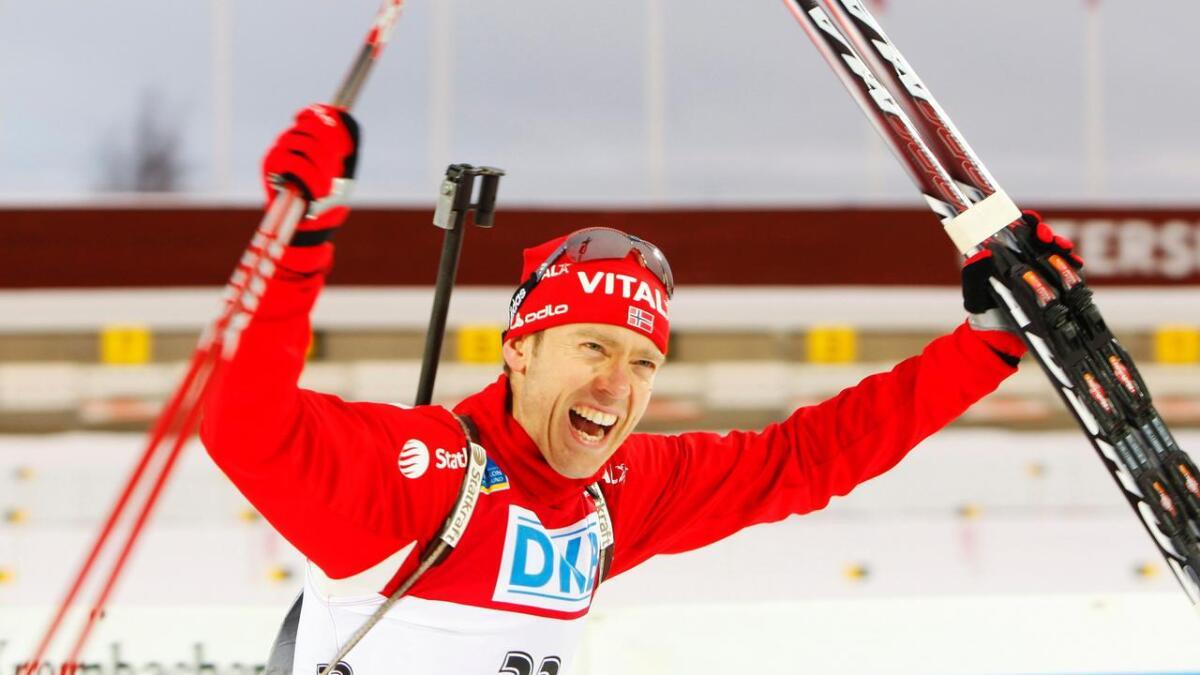 En av Halvard Hanevold mange triumfer, VM-sølv i skiskyttersprinten for menn i Østersund.