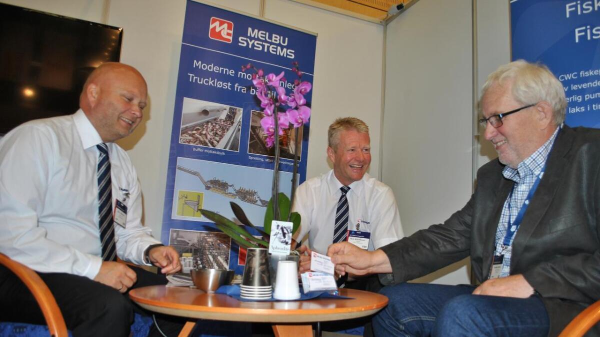 Neste års Nor-Fishing i Trondheim er fullbooket. På bildet Einar Roger Pettersen (f.v.) og Bent Kristoffersen i Melbu Systems på stand under Nor-Fishing i 2016.