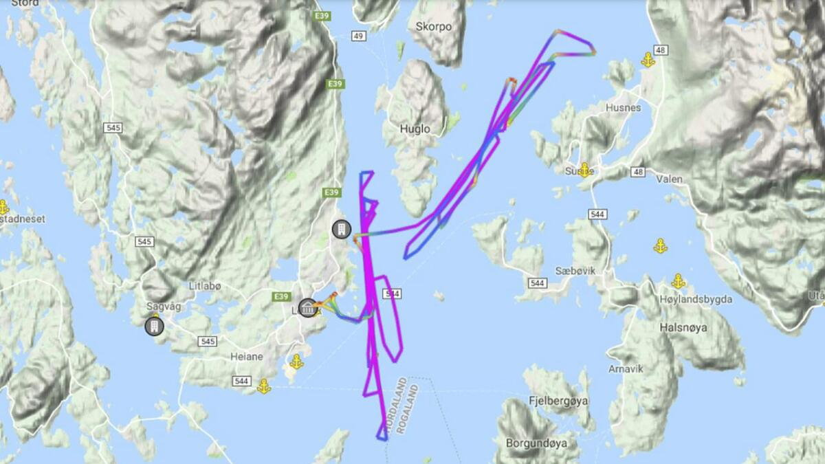 Slik ser trackinga til «Fjordronningen» ut i formiddag.