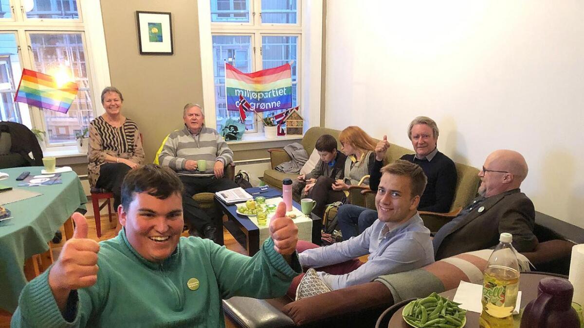 Jens Aldo Carrizo-Nilsen har en god følelse på MDGs valgvake på Tyholmen.