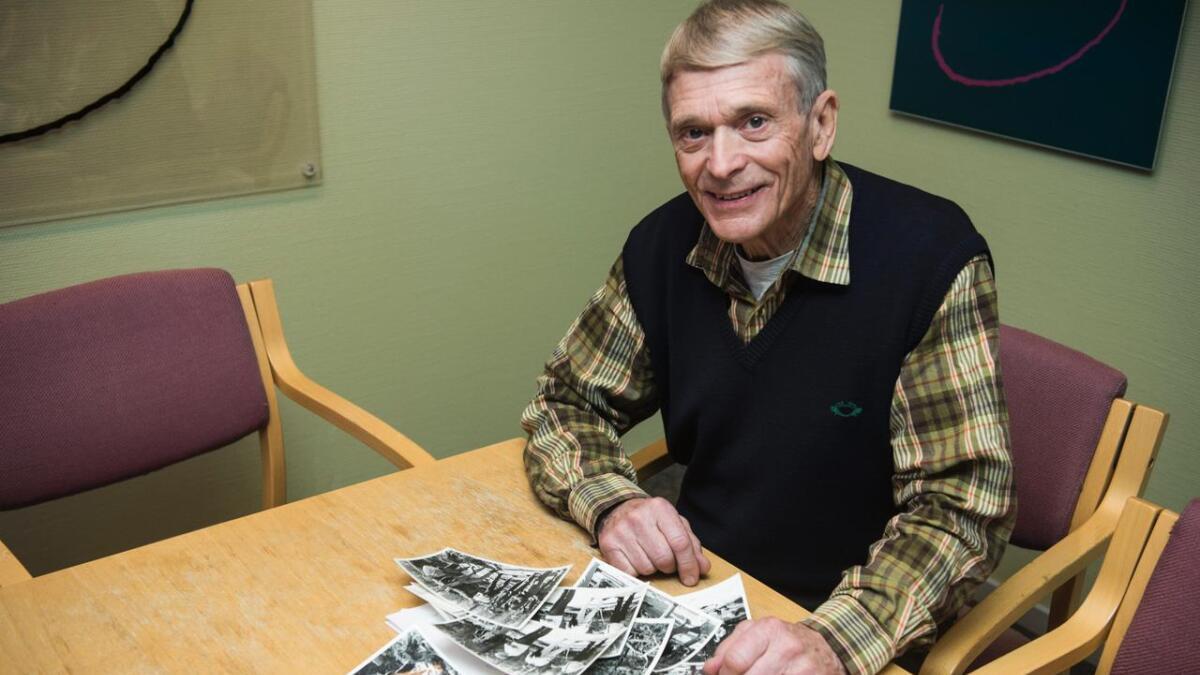Ottar Sletten med bilete frå F-16 havariet i Tunhovd. Som flytryggingsoffiser ved flystasjonen på Rygge var han med i kommisjonen som granska havariet.