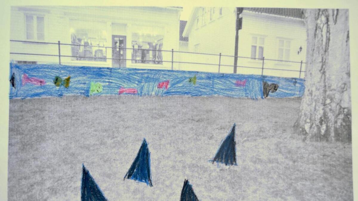 Slik ser barna i Fargepatruljen for seg å smykke ut murveggen i Strygebolten. Haifinnene i forgrunnen skal «komme opp av plenen».