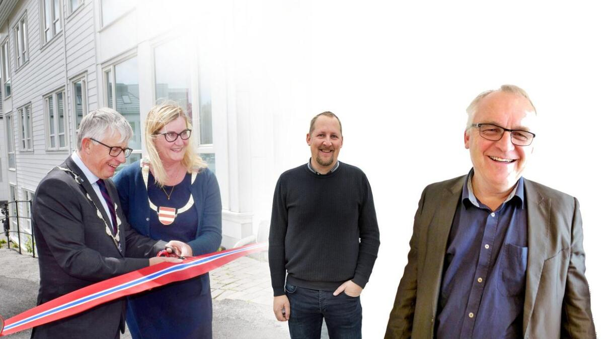Her er de heteste kandidatene til å bli den historiske første fylkesordfører for et felles Agder-fylke. Fra venstre Arne Thomassen (H) og Gro Bråten (Ap) pluss Oddbjørn Kylland (Sp), alle fra Lillesand. Og til høyre Bjørn Alfred Ropstad fra Evje.
