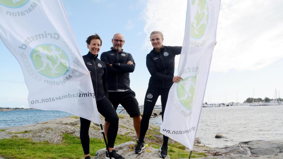 Initiativtakerne til Grimstad Maraton gleder seg stort til løpet 8. september. F.v. Beate Sommer, Rune Nøstvik og Janicke Yttervik.