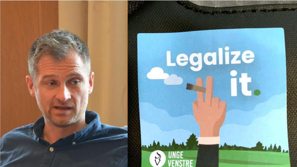 Familiefar og KrF-politiker Raymond Bærø er sjokkert over Unge Venstre som deler ut denne  valgpropagandaen om legalisering av hasj til unge elever på veideregående skoler.- Det er svært, svært alvorlig , mener Bærø som kaller det hasjpropaganda.Fotomontasje/arkivfoto/privat foto