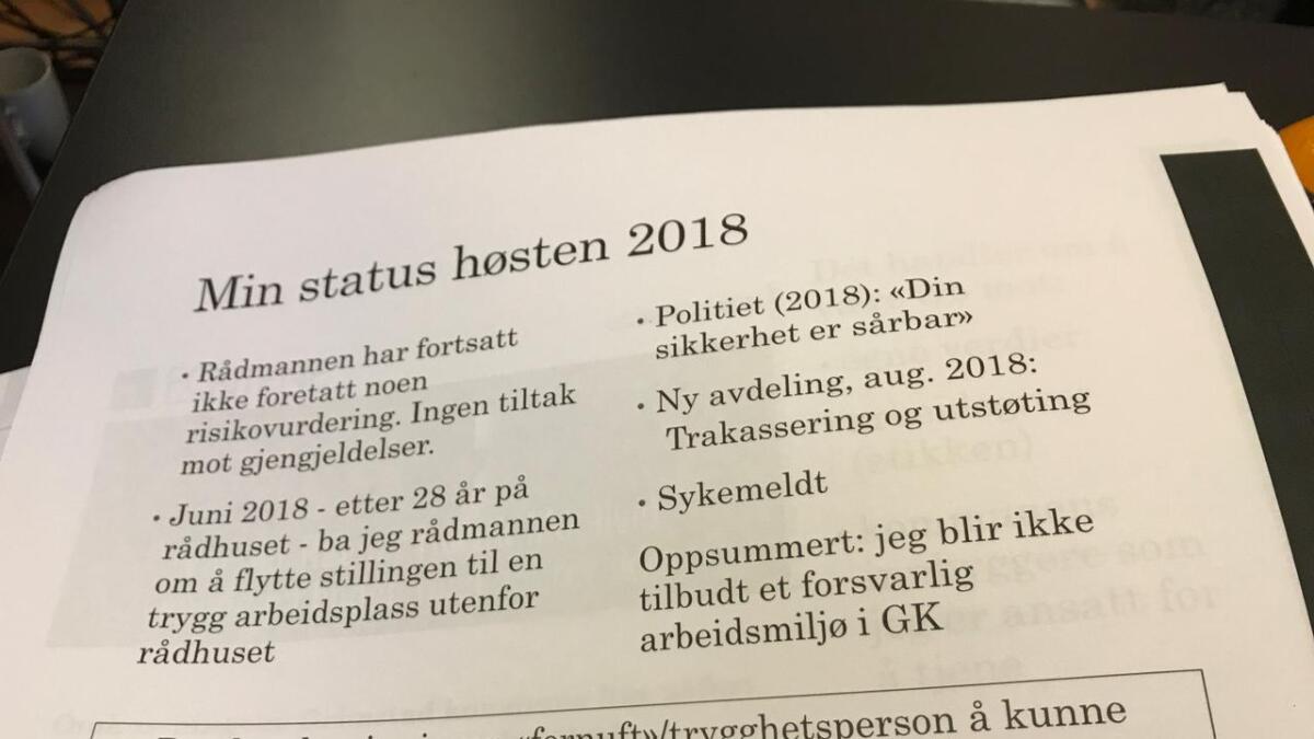 Slik fremstilte varsler Ragnar Holvik sin situasjon for kontrollutvalget i Grimstad kommune.