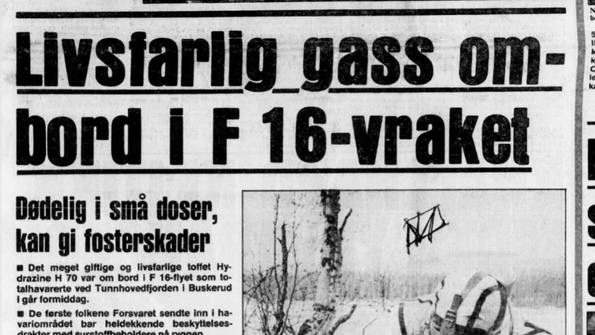 F-16 ulykka ved Tunhovd 2 juni 1981 var det fyrste havariet med flytypen her i landet. Ulykka vekte naturleg nok oppsikt. Her i Dagbladet frå 3. juni 1981 der vinklinga var jakta på drivstoffet til naudgeneratoren i flyet. Ulykka førte til betre rutinar for handtering av dette drivstoffet i samband med havari.