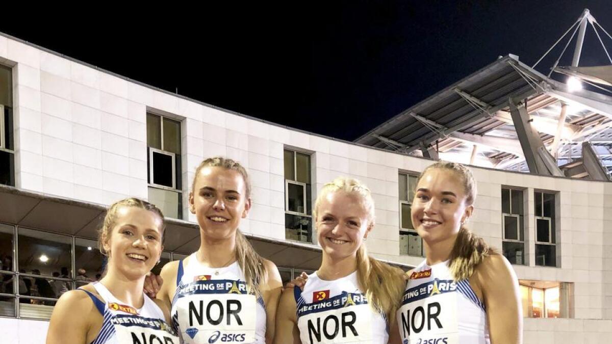 Helene Rønningen, Tonje Fjellet Kristiansen, porsgrunnsjenta Marte Pettersen og Ingvild Meinseth har hatt stor framgang på kort tid. Her etter rekordløpet under Diamond League-kvelden i Paris.