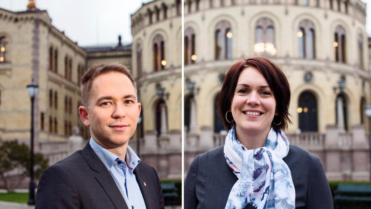 De to helt ferske stortingsrepresentantene Åshild Bruun-Gundersen (Frp) og Tellef Inge Mørland (Ap) fra Aust-Agder.